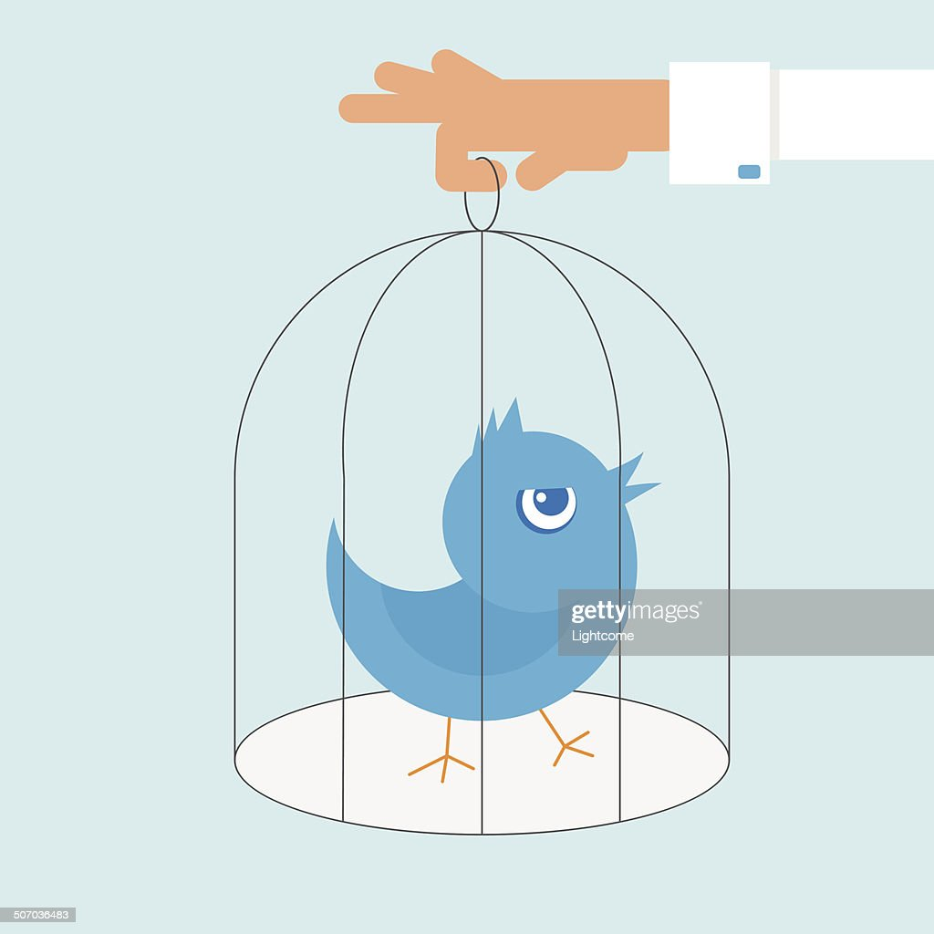 Human hand holds a cage with blue angry bird