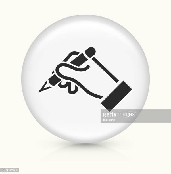 ilustrações, clipart, desenhos animados e ícones de humana mão segura o lápis. - assinatura