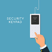 Human hand presses on the button, entering security system code. Entering PIN code on keypad.