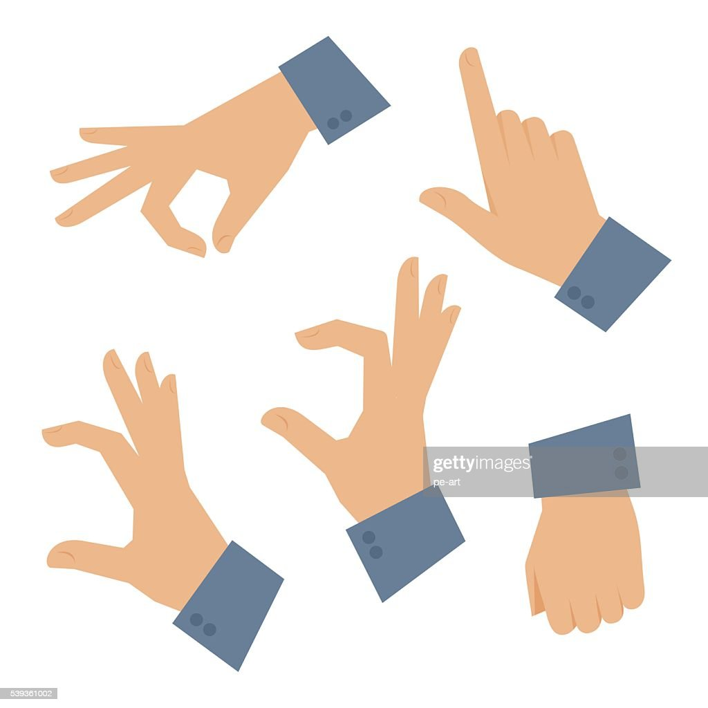 Human hand set on a white background. Vector flat illustration