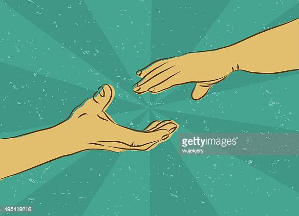 human hand - vector illustration - reaching stock illustrations