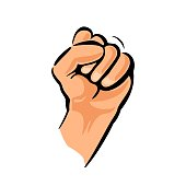 Human hand with a clenched fist. Vector color illustration isolated on a white background. For web, poster, info graphic.