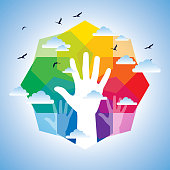 human hand with colorful background