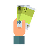 Human hand with money vector icon.