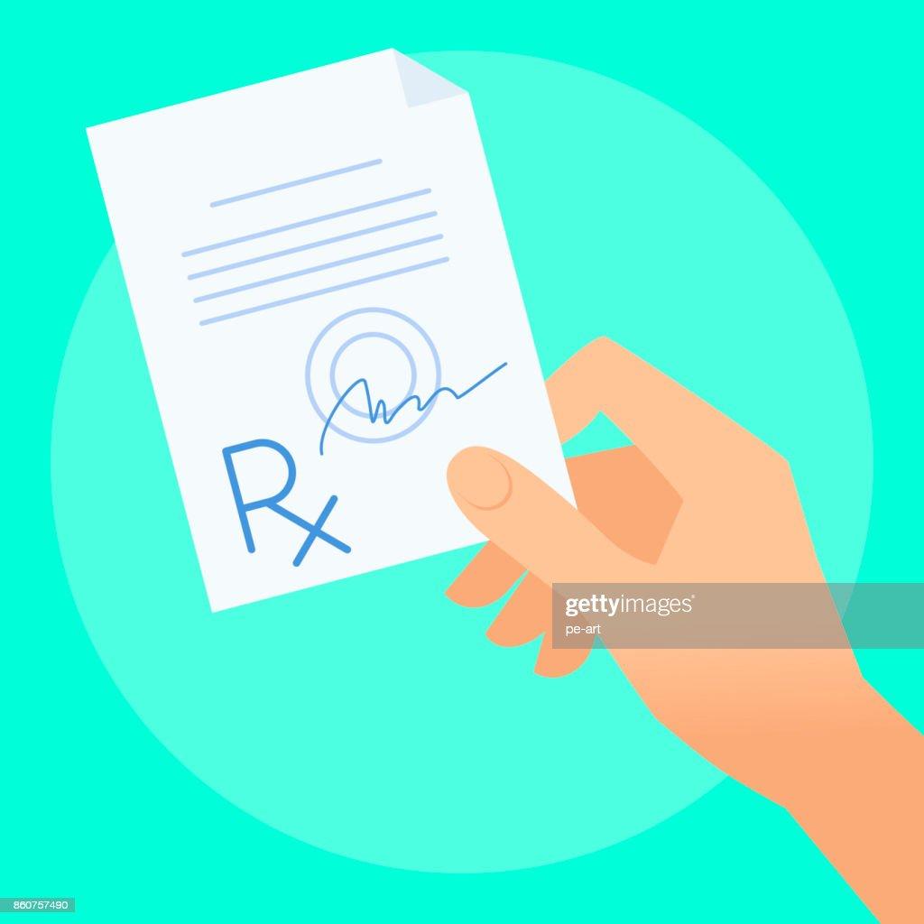 Human hand with rx prescription.