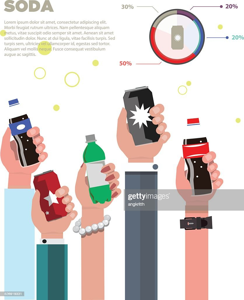Human hand with soda bottle and can - vector illustration