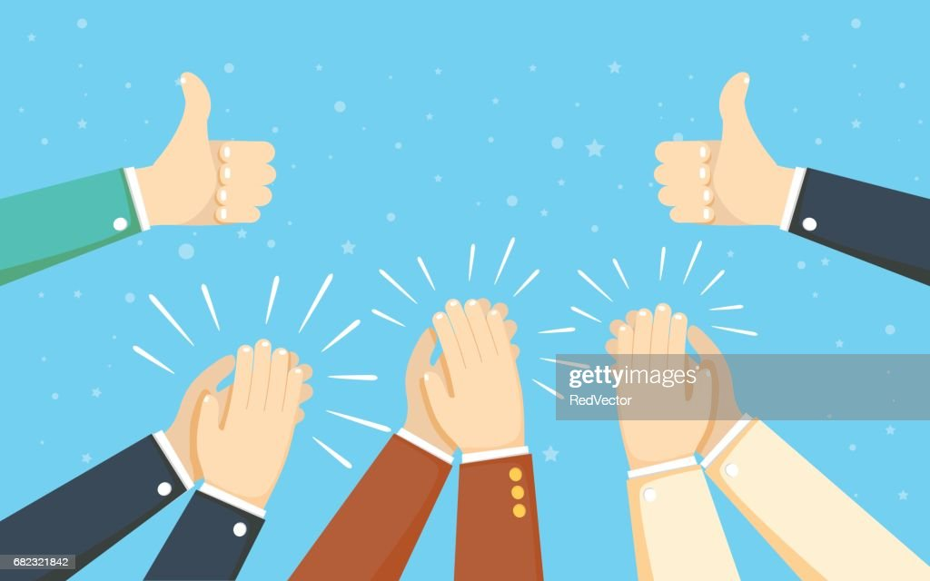 Human hands clapping. applaud hands. vector illustration