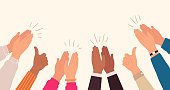 Human hands clapping. People crowd applaud to congratulate success job. Hand thumbs up. Business team cheering and ovation vector concept