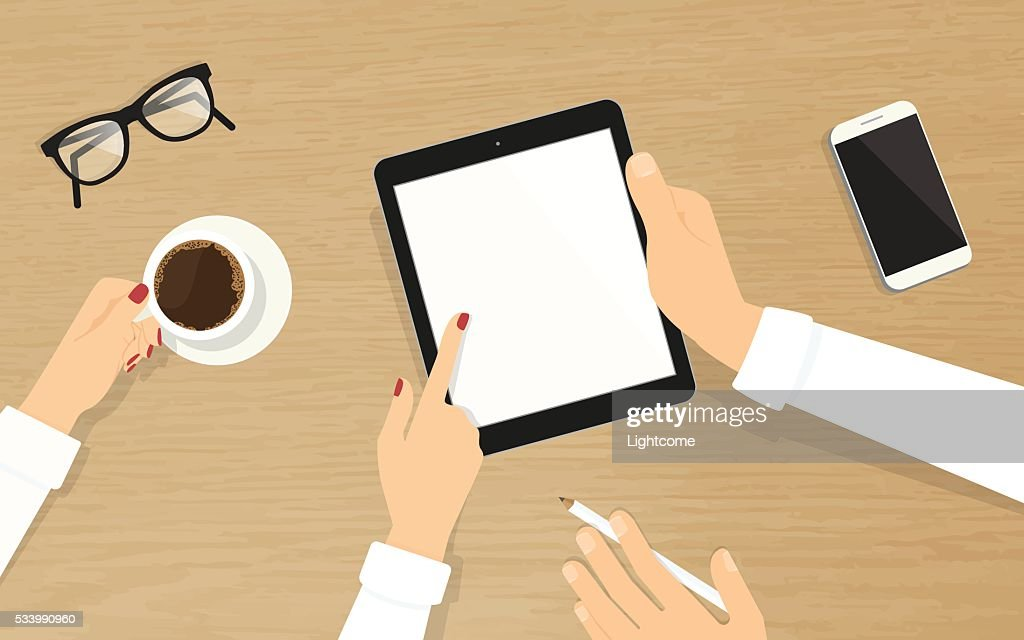 Human hands hold a tablet pc with empty display