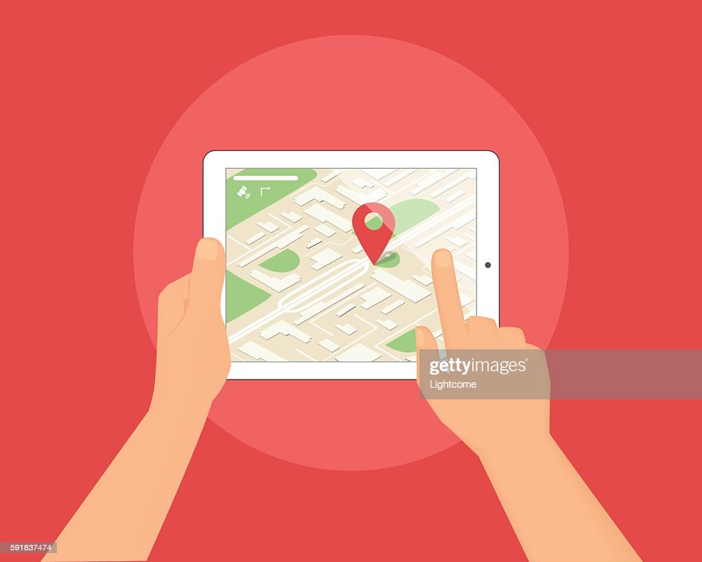 Human hands hold tablet pc with map and location pin