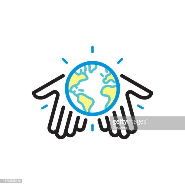 human hands holding globe - symbols of peace stock illustrations