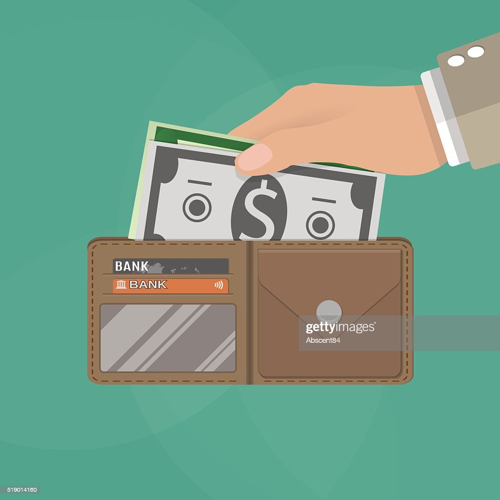 human hands holding opened wallet