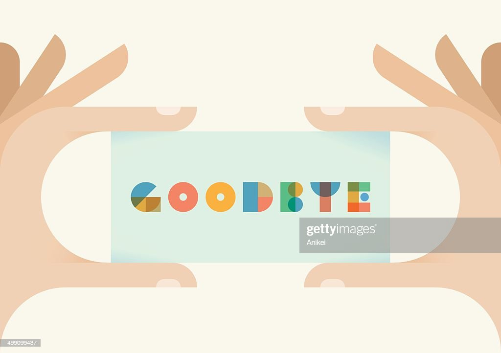 Human hands holding vintage card with Goodbye text