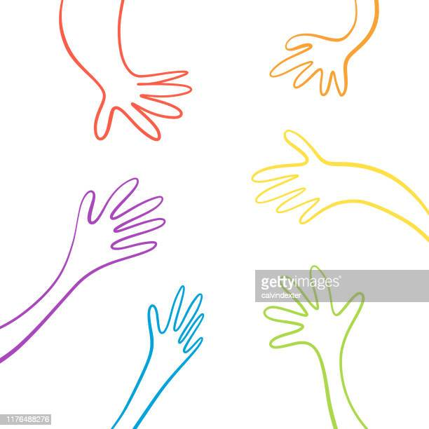 human hands in the rainbow flag colors - marriage equality stock illustrations, clip art, cartoons, & icons
