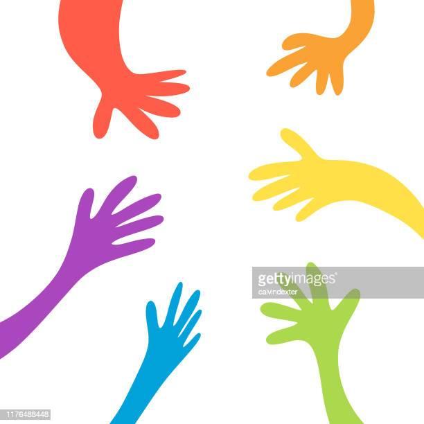 ilustrações de stock, clip art, desenhos animados e ícones de human hands in the rainbow flag colors - direitos humanos