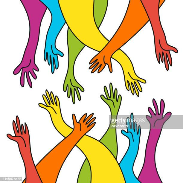 human hands rainbow flag colors - marriage equality stock illustrations, clip art, cartoons, & icons