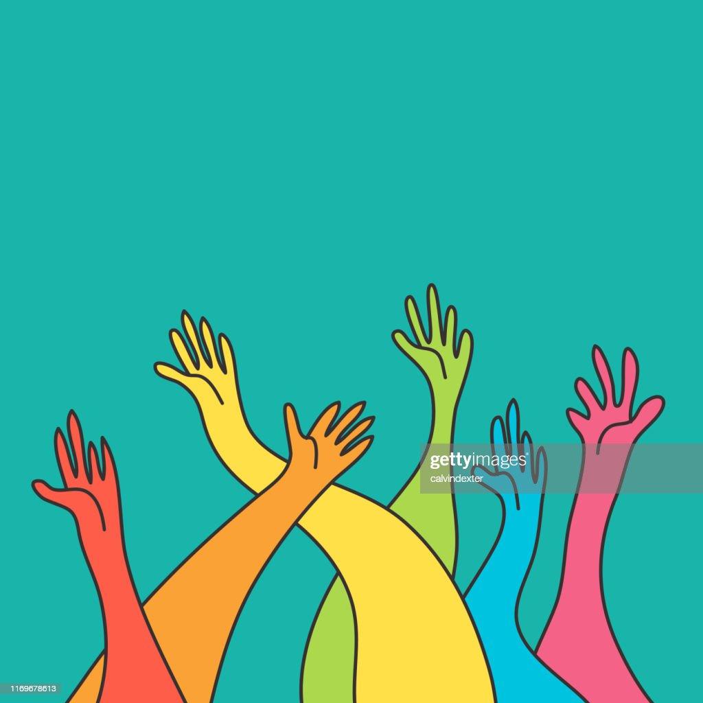人間の手虹の旗の色 : ストックイラストレーション