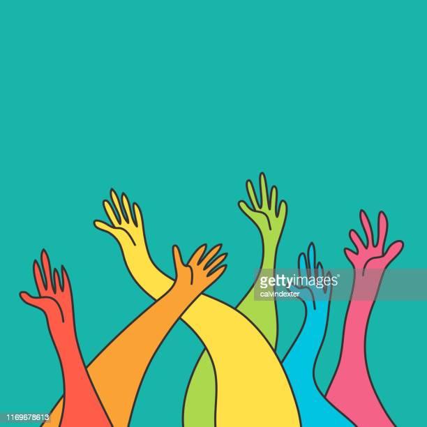 ilustrações de stock, clip art, desenhos animados e ícones de human hands rainbow flag colors - direitos humanos
