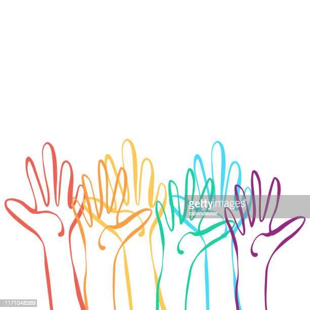 human hands rainbow flag colors - bonding stock illustrations