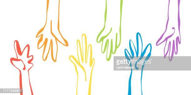 ilustraciones, imágenes clip art, dibujos animados e iconos de stock de manos humanas colores de la bandera del arco iris - política y gobierno