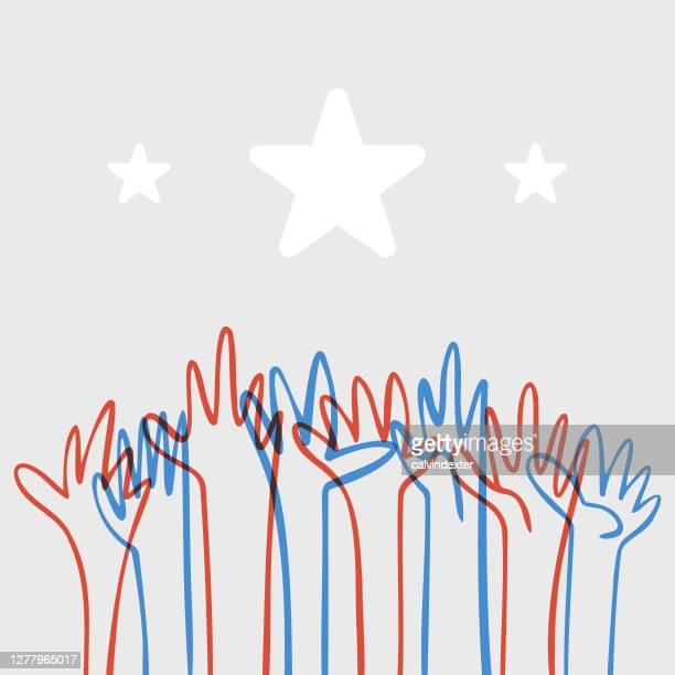 アメリカの旗の色に手を差し伸べる人間の手 - 社会正義点のイラスト素材/クリップアート素材/マンガ素材/アイコン素材