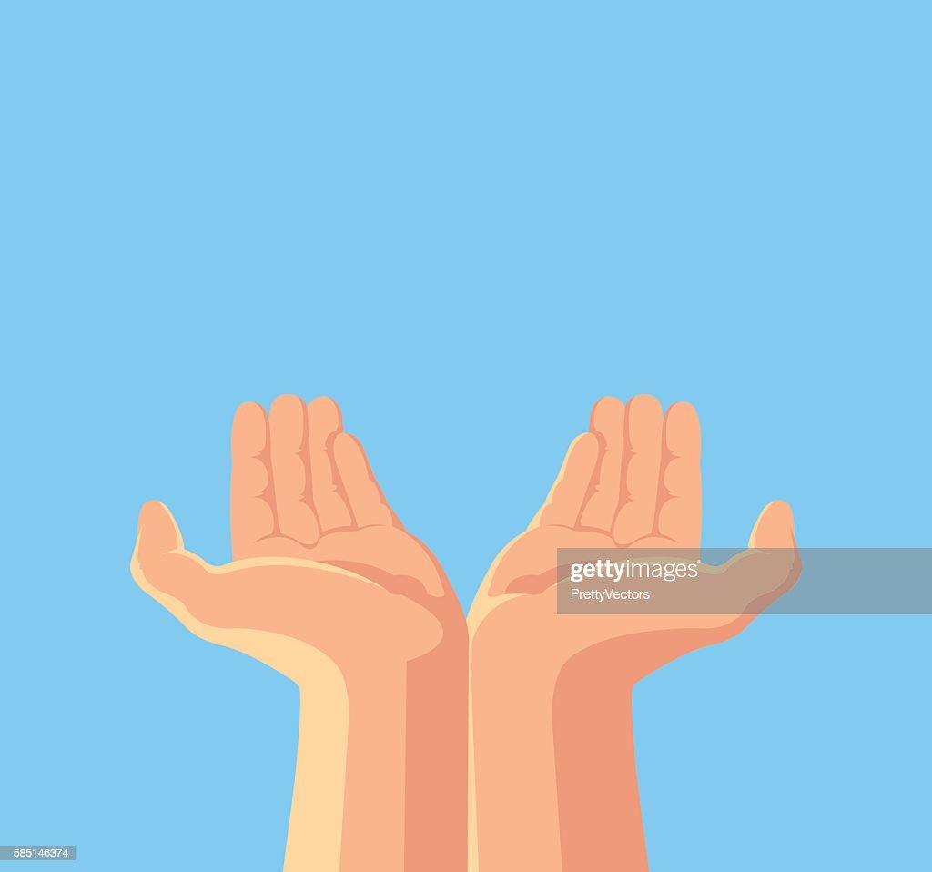 Human hands. Vector flat cartoon illustration