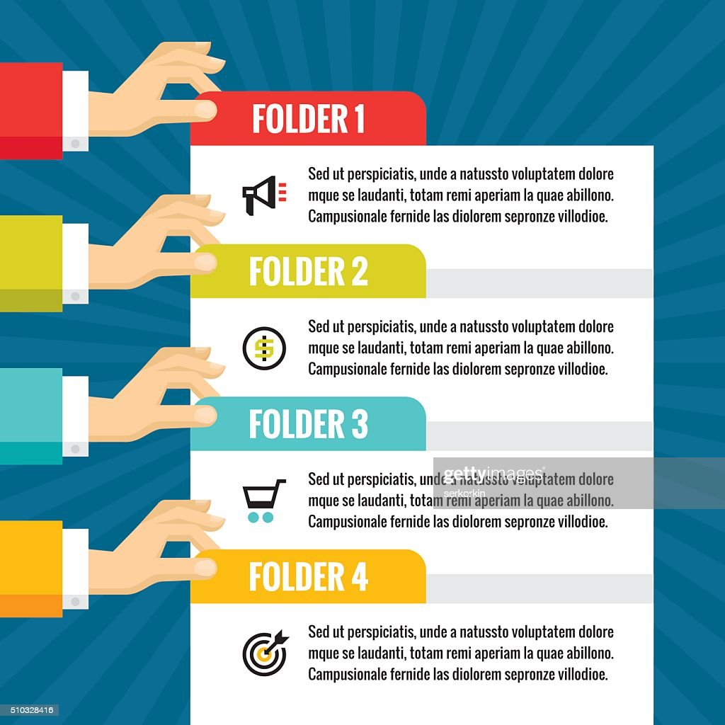 Human hands with numbered blocks - infographic business concept