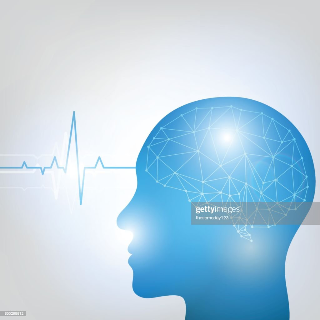 Human head and brain. Different kind of waveforms produced by brain activity shown on background