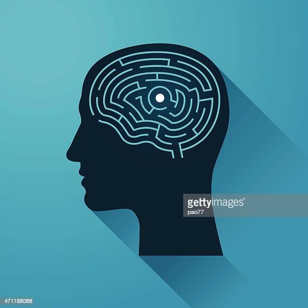 illustrazioni stock, clip art, cartoni animati e icone di tendenza di testa umana e il cervello labirinto - intrico