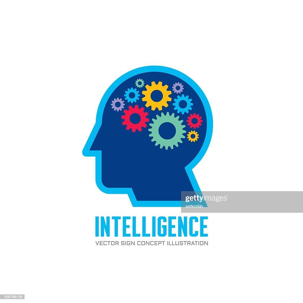 Human head and brain process - vector illustration.