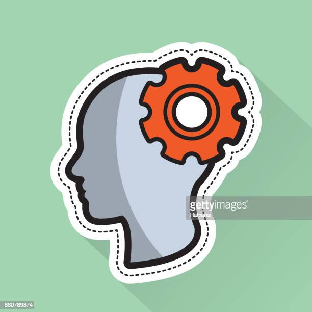 human head and gear icon - {{relatedsearchurl('county fair')}} stock illustrations, clip art, cartoons, & icons