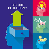 Human head box for presentation, booklet, web site and other design projects. Advertising layouts. Volume abstract form of a human head with a box and arrow issue, letters and numbers. Symbolizes knowledge, thoughts, desires, opinions, Hobbies, habits.