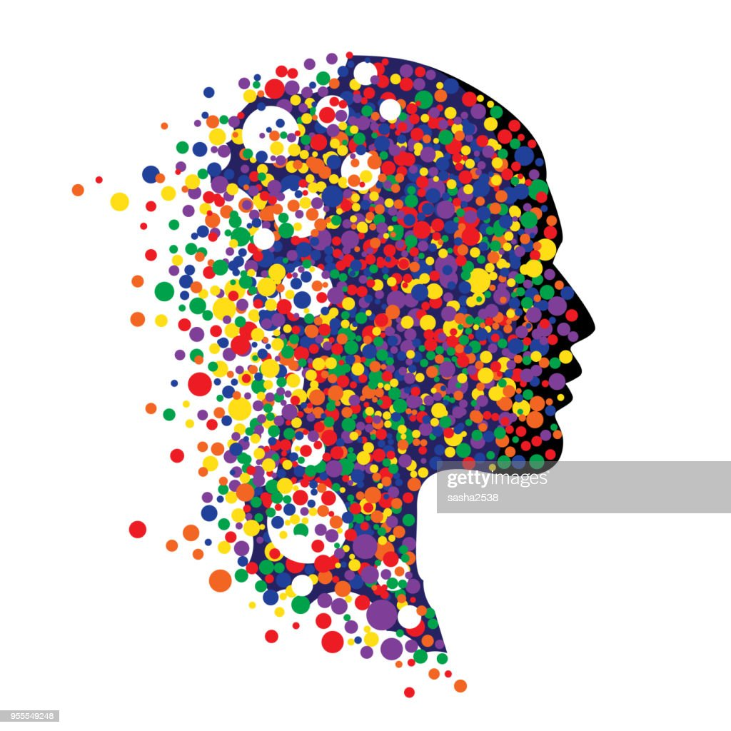 Human head isolated on white. Abstract vector illustration of face  with colorful circle