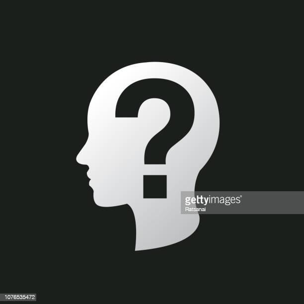 menschlichen kopf frage konzept - menschlicher kopf stock-grafiken, -clipart, -cartoons und -symbole