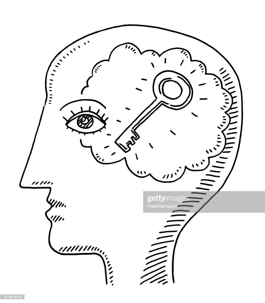 Ein menschlicher Kopf Seite Verstand wichtige Ansichtszeichnung : Stock-Illustration