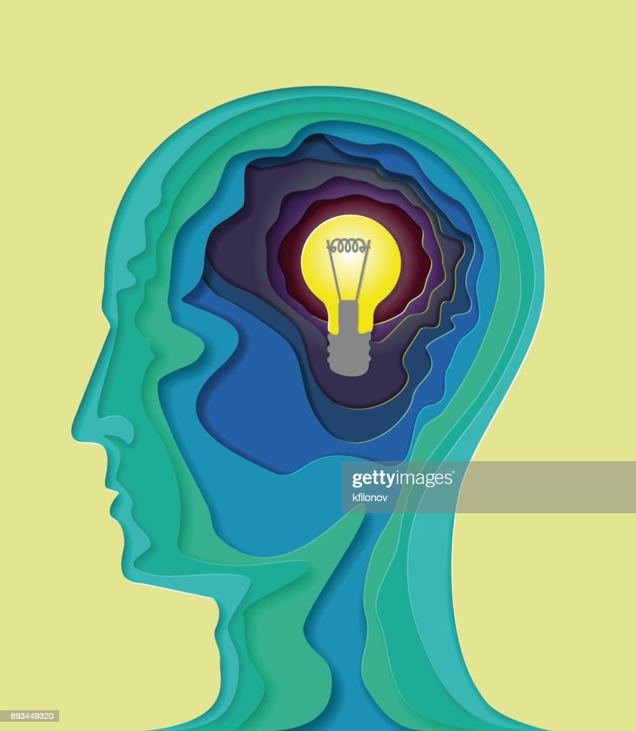Human head - vector illustration in the style of material design for presentation, booklet, website and other design projects. Advertising models. Volumetric multilayered abstract curved shape of the human brain with a light bulb, symbolizes the idea.