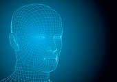 Human head wireframed futuristic style