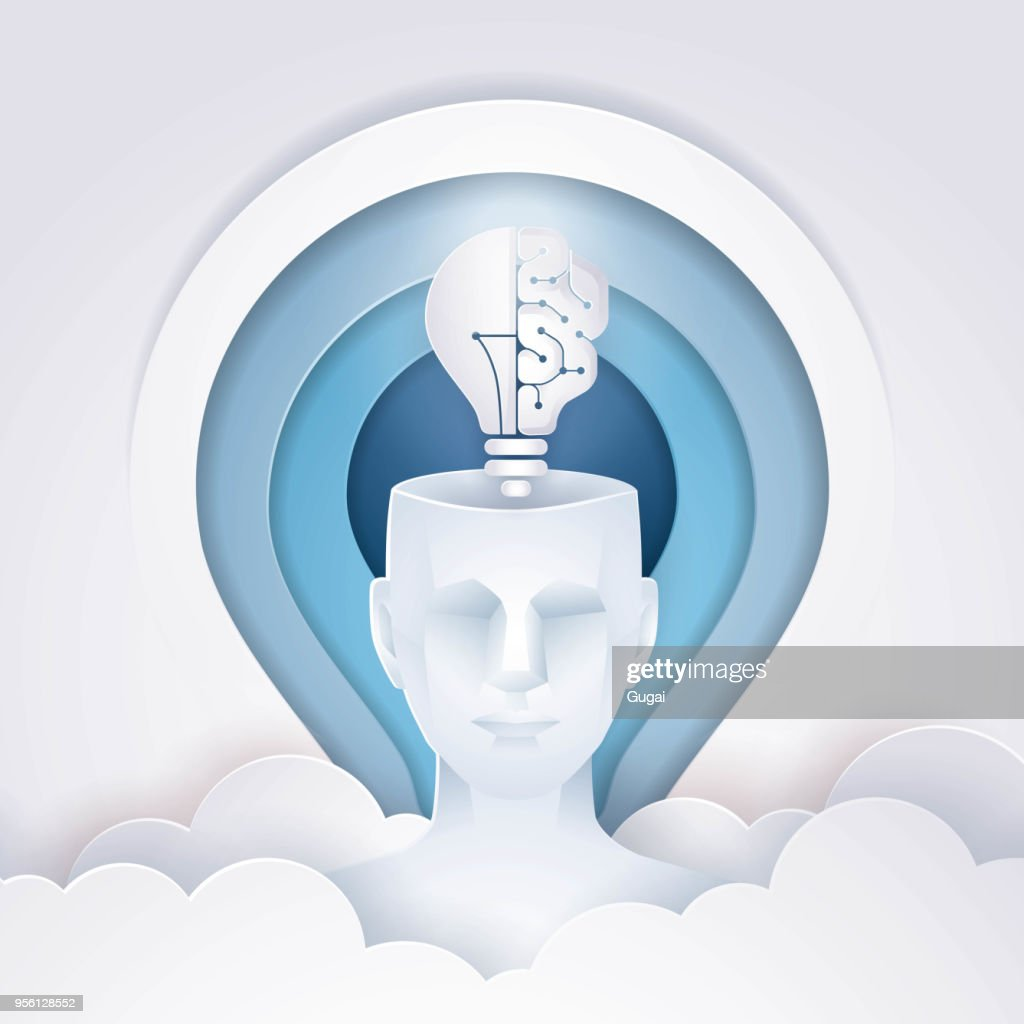 Human Head with a half of light bulb and brain, Abtract Light bulb Background