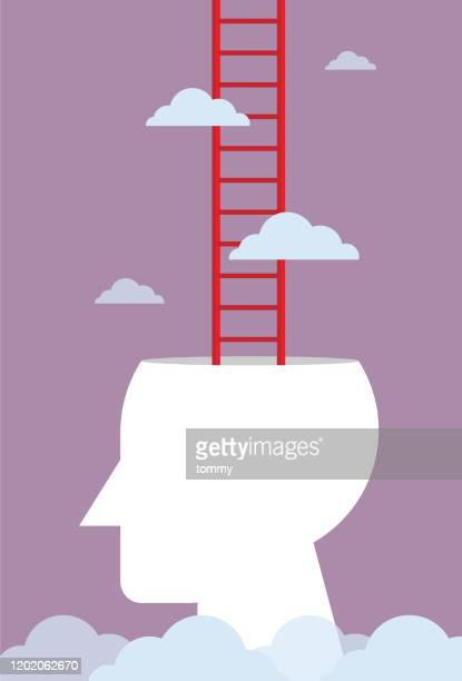 human head with a ladder - attitude stock illustrations