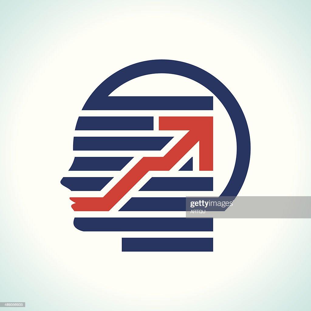 human head with arrow