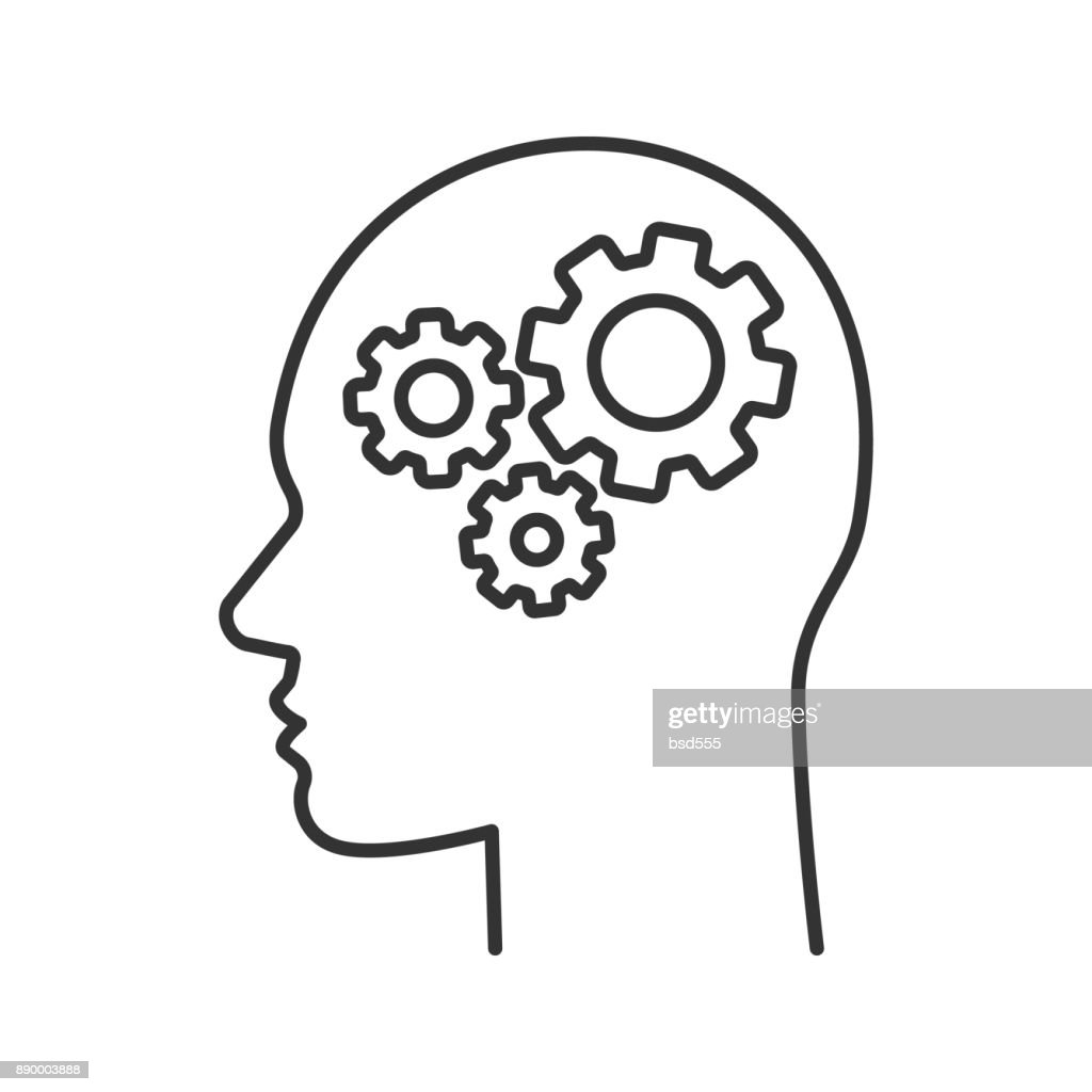 Human head with cogwheels inside icon