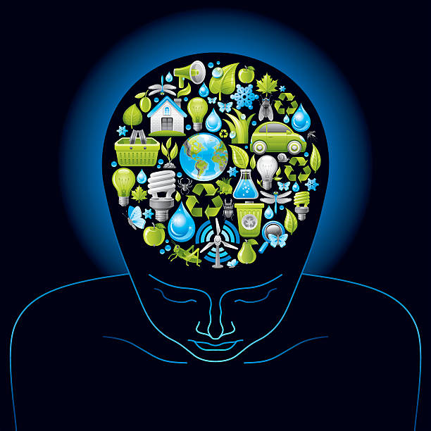 Human head with ecological symbols in brain on black background