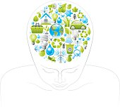 Human head with ecological symbols in brain
