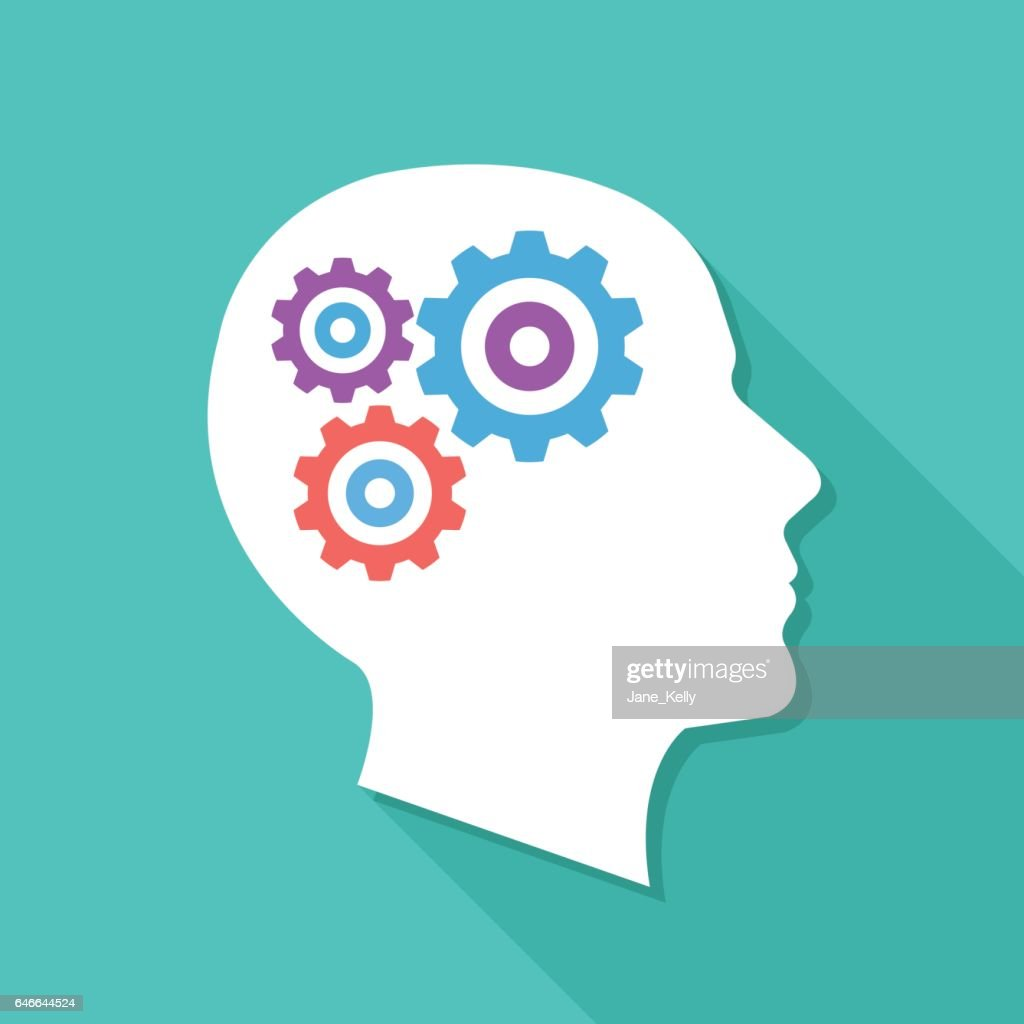 Human head with gears and cogs. Thinking process, idea generation, brain functioning. Modern flat design vector illustration
