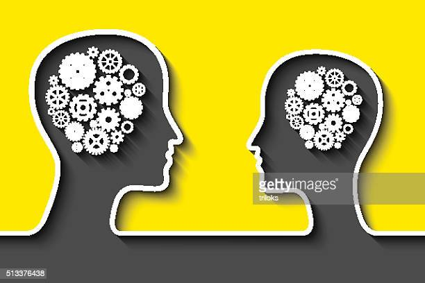 Human head with gears on yellow background