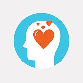 Human head with heart icon ,love concept flat style