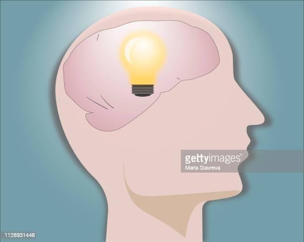 Human head with light bulb - idea concept.Vector