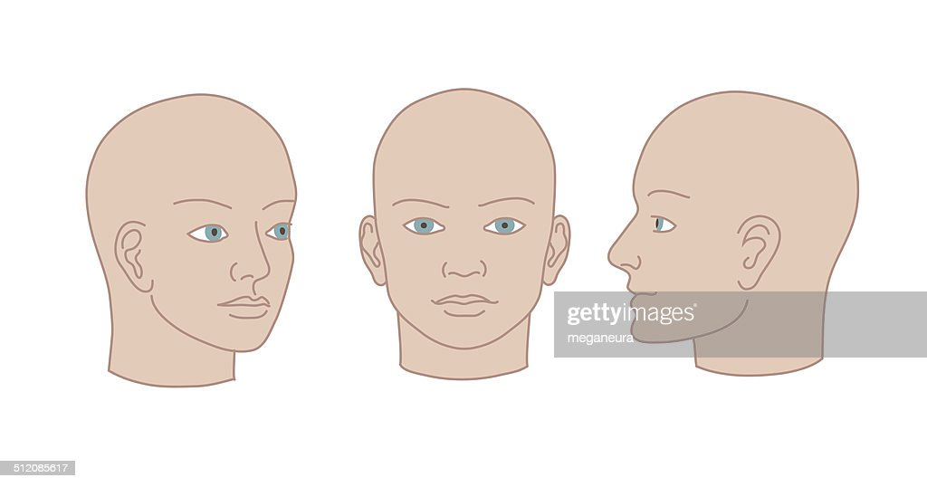 Human heads full-face, half-face and three-quarter. Vector silho