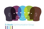 Human heads silhouettes. Group of people talking, working togeth