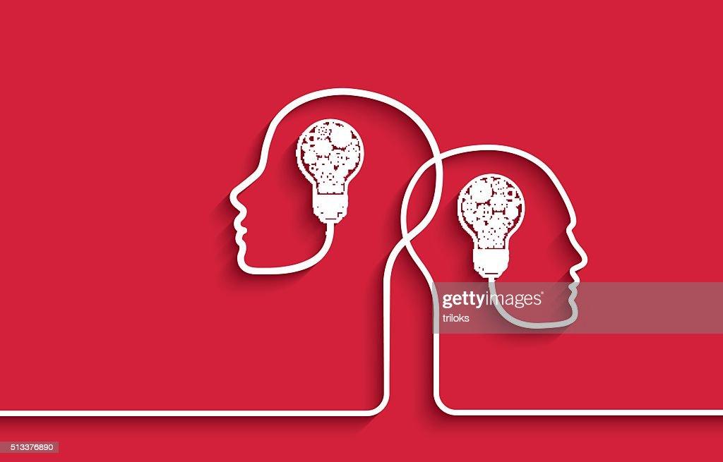 Menschlicher Kopf mit Getriebe Glühbirnen und auf rotem Hintergrund : Stock-Illustration